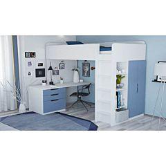 Кровать-чердак Polini Simple с письменным столом и шкафом (Белый-Синий)