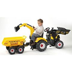 Трактор-экскаватор Falk педальный с прицепом (желтый)