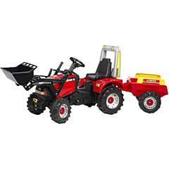 Трактор-экскаватор педальный Falk с прицепом и ковшом (красный)