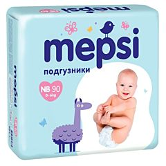 Подгузники Mepsi большая пачка NB (0-6 кг) 90 шт.