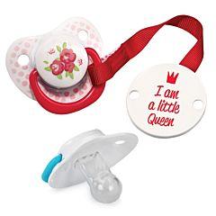 Пустышка Happy Baby с держателем (0-18 мес.) Little Queen (Розовый)