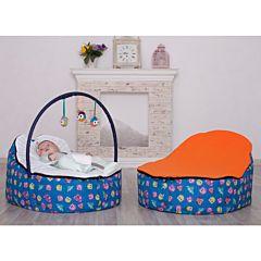 Кокон для новорожденных Feter Baby Bean Bag с игрушками (сине-оранжевый)
