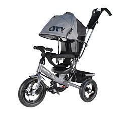 """Трехколесный велосипед City с надувными колесами 10"""" и 8"""" (серый)"""