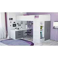Кровать-чердак Polini Simple с письменным столом и шкафом (Белый-Серый)