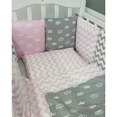 Комплект постельного белья by Twinz (17 предметов, хлопок) (короны розовые)