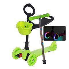 Самокат Sun Color Mars Kids 3 в 1 со светящимися колесами (зеленый)