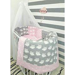 Комплект белья для овальной кроватки by Twinz (15 предметов, хлопок) (совы розовые)