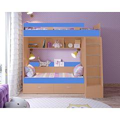 Кровать двухъярусная Ярофф Юниор-6 (вишня оксфорд/голубой)