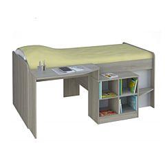Кровать-чердак Polini Simple 4000 со столом и полками (вяз-белый)