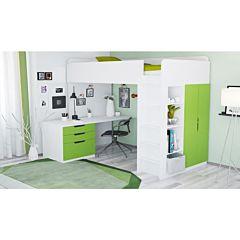 Кровать-чердак Polini Simple с письменным столом и шкафом (Белый-Лайм)