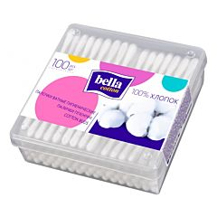 Палочки ватные Bella Cotton в пластиковой квадратной упаковке 100 шт