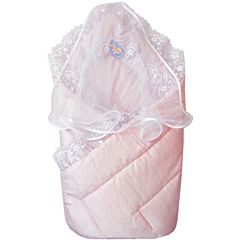 Конверт-одеяло на выписку летний Little People (розовый)