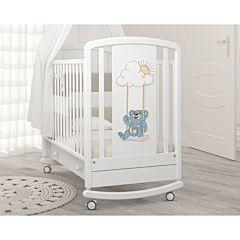 Кроватка детская Angela Bella Жаклин Мишка на качелях (качалка-колесо) (белый)