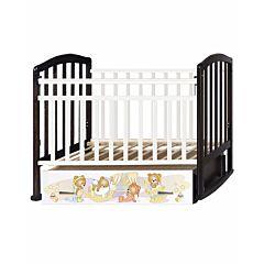 Кроватка детская Антел Алита 4 Медвежата (поперечный маятник) (белая/венге)