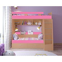 Кровать двухъярусная Ярофф Юниор-6 (вишня оксфорд/розовый)