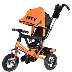 """Трехколесный велосипед City с надувными колесами 12"""" и 10"""" (оранжевый)"""