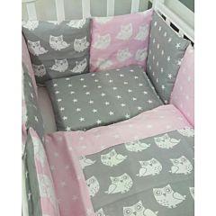 Комплект постельного белья by Twinz (17 предметов, хлопок) (совы розовые)