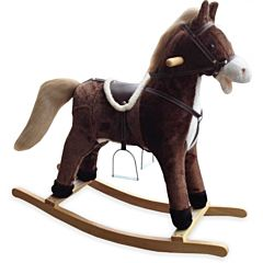 Лошадка-качалка BabyMix Oscar со стременами (коричневая)