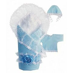 Комплект на выписку демисезонный Alis Розы (11 предметов) (голубой)