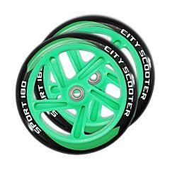 Набор колес и подшипников для самоката TechTeam 180 мм (зеленый)