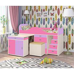 Кровать-чердак Ярофф Малыш Люкс (белое дерево/ирис/розовый)