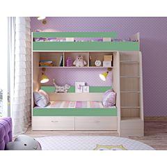 Кровать двухъярусная Ярофф Юниор-6 (дуб молочный/зеленый)