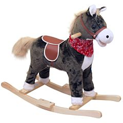Лошадка-качалка BabyMix Oscar с платком (серая)