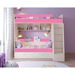 Кровать двухъярусная Ярофф Юниор-6 (белое дерево/розовый)