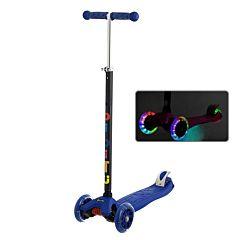 Самокат BiBiTu Cavy со светящимися колесами и регулировкой руля (синий)