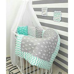 Комплект белья для овальной кроватки by Twinz (15 предметов, хлопок) (короны мятные)