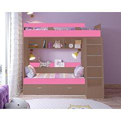 Кровать двухъярусная Ярофф Юниор-6 (бодего темный/розовый)