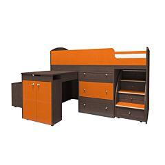 Кровать-чердак Ярофф Малыш Большой (темный/оранжевый)