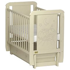 Кроватка детская Kitelli Micio (продольный маятник с ящиком) (Бежевый)