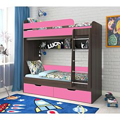 Кровать двухъярусная Ярофф Юниор-5 (венге темный/розовый)