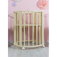 Кроватка-трансформер Sleep and Smile 6 в 1 (береза, колесо) (слоновая кость)