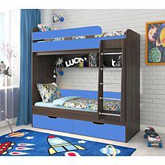 Кровать двухъярусная Ярофф Юниор-5 (венге темный/голубой)