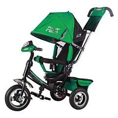 """Трехколесный велосипед Trike Power Race с надувными колесами 10"""" и 8"""" с фарой (зеленый)"""