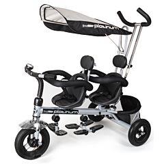 """Трехколесный велосипед для двойни Small Rider Platinum с ПВХ-колесами 9"""" и 7"""" (P&G) (платина)"""