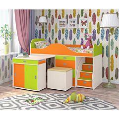 Кровать-чердак Ярофф Малыш Люкс (белое дерево/лайм/оранжевый)