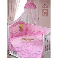 Комплект постельного белья Золотой Гусь Мишка-Царь (8 предметов, хлопок) (розовый)