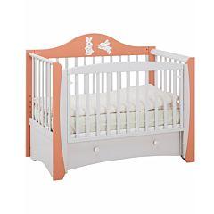 Кроватка детская Papaloni Olivia (продольный маятник) (Корал/дымка)