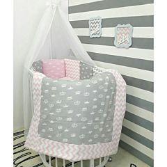 Комплект белья для овальной кроватки by Twinz (15 предметов, хлопок) (короны розовые)