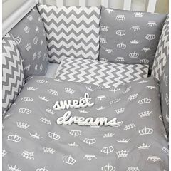 Комплект постельного белья by Twinz (17 предметов, хлопок) (короны серые)