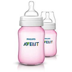 Бутылочки Philips AVENT полипропиленовые Classic+ SCF564/27 260 мл (2 шт) (Розовый)