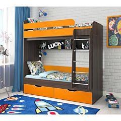 Кровать двухъярусная Ярофф Юниор-5 (венге темный/оранж)