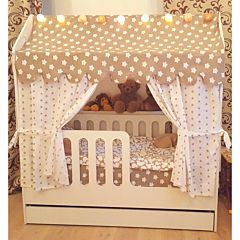 Кроватка-домик Мир Мебели с ящиком (белая) ДИСКОНТ