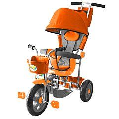 """Трехколесный велосипед Galaxy Лучик с ПВХ-колесами 10"""" и 8"""" с капюшоном (оранжевый)"""