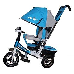 """Трехколесный велосипед Trike Flower с надувными колесами 10"""" и 8"""" с фарой (синий)"""