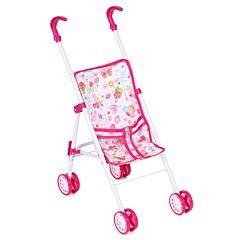 Коляска-трость для куклы Игруша 5818B (Белый+розовый/бабочки)