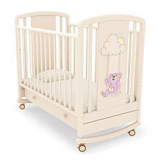 Кроватка детская Angela Bella Жаклин Мишка на качелях (качалка-колесо) (слоновая кость)